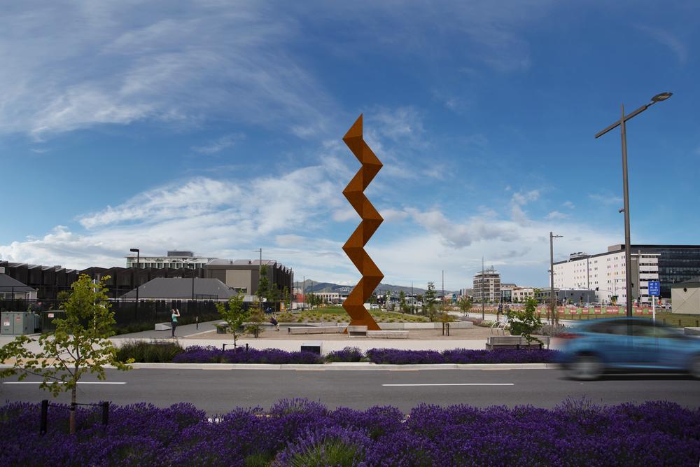 Sēmisi Fetokai Potauaine  VAKA 'A HINA  2019 Rauora Park, Christchurch (site render – day). Image courtesy of the artist. Commissioned by SCAPE Public Art.