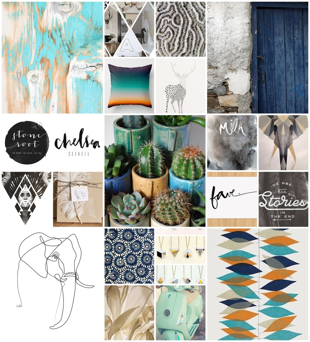 Mood Board- beggining stages of rebrand. Things, colours and textures that make me happy.