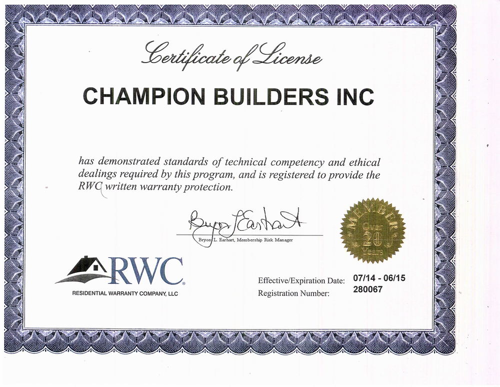 Tall Timbers Estatesrwc Home Warranty Certificate