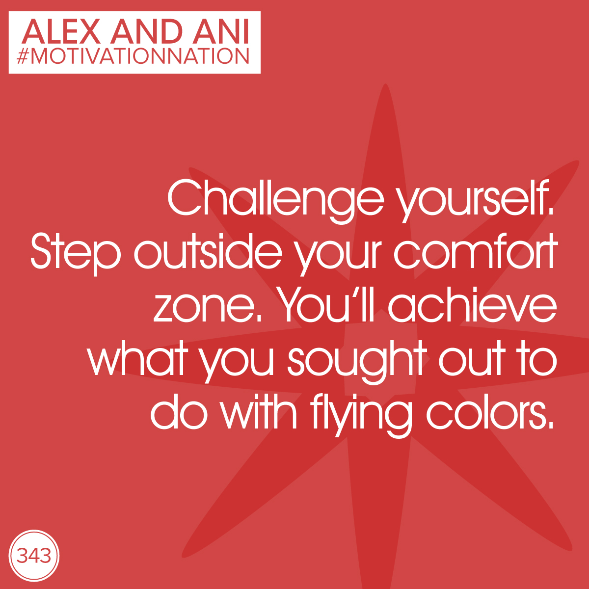alexandani :     Some things are well worth the risk.  #motivationnation       Challenging yourself to do the unexpected (within reason and for good reason) can be incredibly rewarding!    1- Strike up a conversation with someone you never talk to.   2- Move the cookie off the plate and replace it with fruit.   3- Workout 15 minutes longer than you normally would.   In Style Health and Energy, we show the world possibility.  Challenge your comfort zone - the view is incredible!