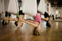 "Fitness Starts With ""U""    Unnata Yoga (""ooo-NOT-ah"" — Unnata) that is.  A friend is encouraging me to try this in a class next week.  Maybe you can too! I'll let you know how it is….here's a little info on Unnata Aerial Yoga.   According to  aerialyoga.com , Unnata is the Sanskrit word for ""elevated,"" meaning both elevated in spirit and physically elevated. Unnata Aerial Yoga postures encourage a better understanding of positioning and purpose of advanced and traditional Yoga postures.    The practice of Yoga is intended to calm the nervous system through stretches, deep breathing, and actively letting go of stressful thoughts and instead give space to what is instead of  seeing the world through fear, anger, sadness or desires that can be distracting.   Working on your mind fitness will help your overall fitness and nutritional transformation.   Image Source: http://fiterella.tumblr.com   Content Source:  http://www.aerialyoga.com/about/what-is-unnata-aerial-yoga/"