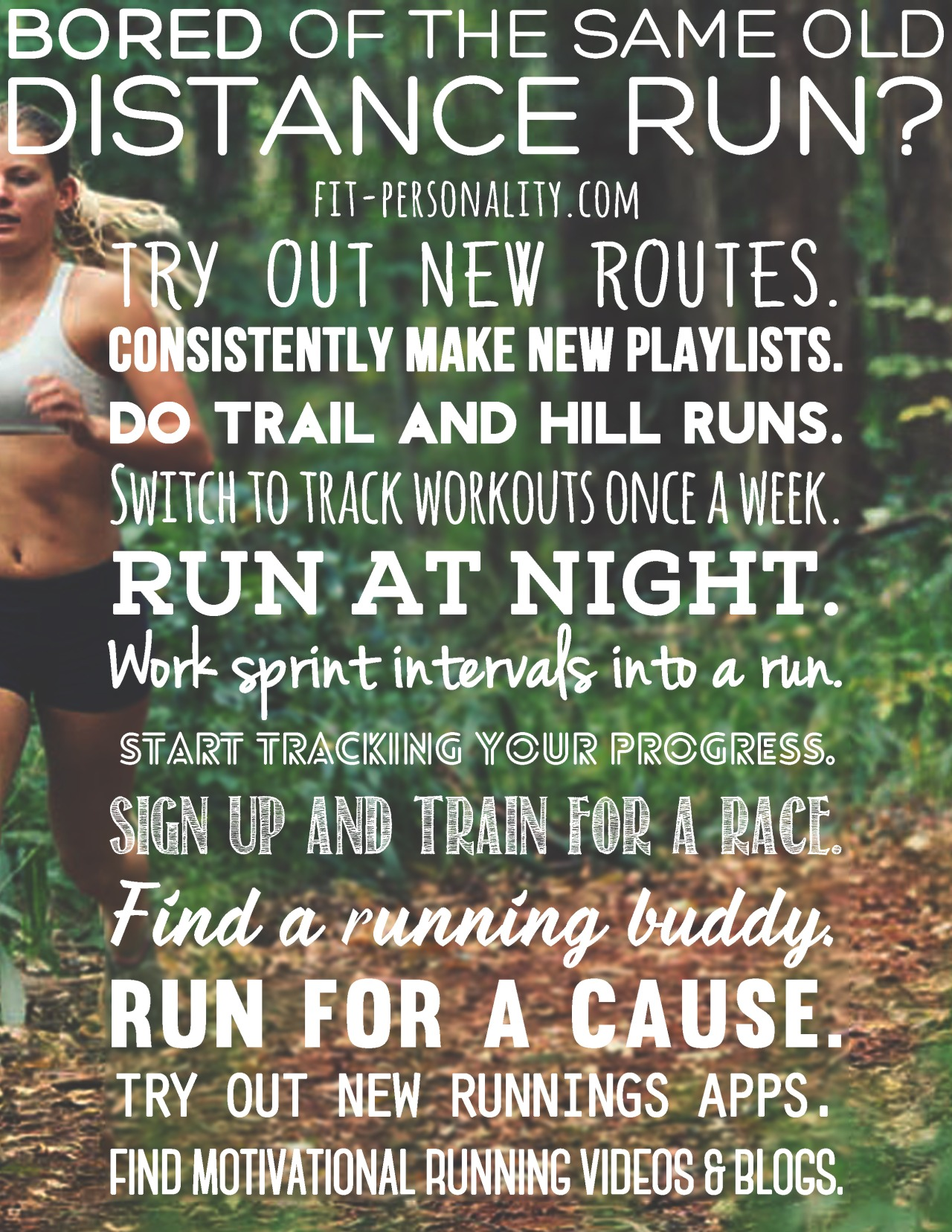 fit-personality :     Hey y'all! Even I sometimes get bored of doing the same route. Living on a tiny island, it's hard to find new places to run, but here are things I do to switch it up when I am feeling bored and tired of the repetition :)     Revitalize your run!