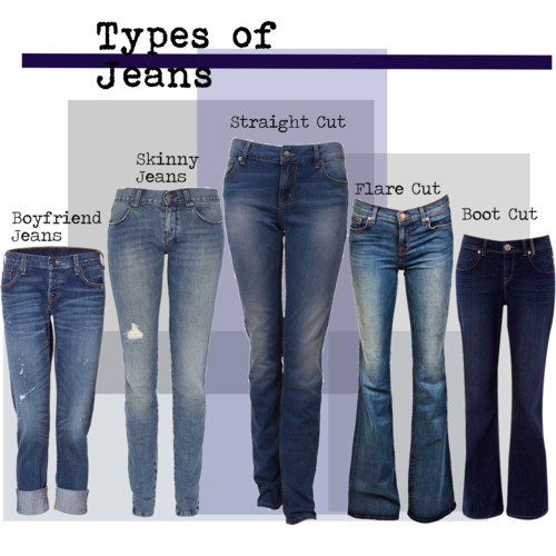 "With so many styles of jeans out there now, its important that we find the best one for our bodies.  Have you ever seen so many words to describe ANY other clothing?      Boot-cut, skinny, ripped, boyfriend, flared, high waist, acid-washed,  straight, loose, classic, colored, vintage, low-rise, hipster, crop, curvy, wide-legged, maternity…. the list goes on.      Most of us know right away what looks good on us. Pay attention to your body type (apple, pear-shaped, hourglass, straight) and pick a jean that minimizes the bad and enhances the good; and of course always taking into consideration the occasion and the shoes to be worn!  Want to add a butt? Busy the backside via bling, pockets, embroidery.  The opposite will minimize the butt.  Flared-leg will thin those thighs. I am 5'8"" and I have a more stick straight build with a medium booty,  boot-cut or skinny jeans are my favorites.  Since I'm over 40 years old, I am careful about whether my butt crack sneaks a peak.  I'm not a fan!  However, you won't catch me wearing high-rise either. Sorry ladies, there is nothing flattering about a jean that covers the crack AND all the muffin tops together!  Don't be afraid to wear some rocking heals with those jeans.        A great website for your research on jeans fashion is   www.denimblog.com"