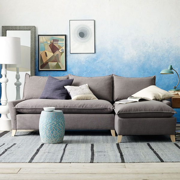 scissorsandthread :       Ombre Wall   |   West Elm     Did you know West Elm did how tos?! Neither did I! But as someone who really loves West Elm and their styling, I find it really interesting to not only see 'behind the scenes' but to also learn how to achieve the same look. There are two tutorials - one is for the image above using just one paint colour and sponging it up to create a kind of watercolour ombre, and also one on how to use three colours and blend them from one to another.     I LOVE AN OMBRE STYLE
