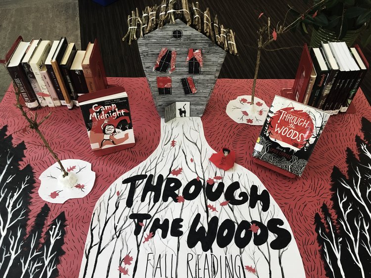 """""""Through the Woods"""" book display at DHS"""