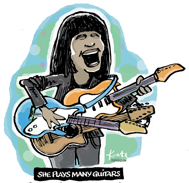 Joan Armatrading cartoon. Was fascinated by the many guitars she used during her concert (Toronto, October). Joan saw the cartoon and asked for a copy.