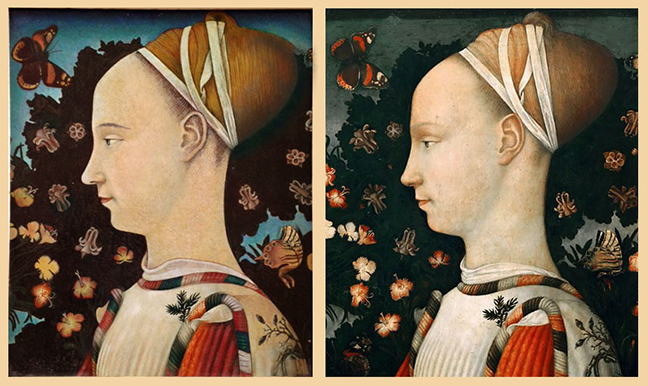 "Pisanello's ""Portrait of Princess"" (1435 - 1449). My reproduction on left."