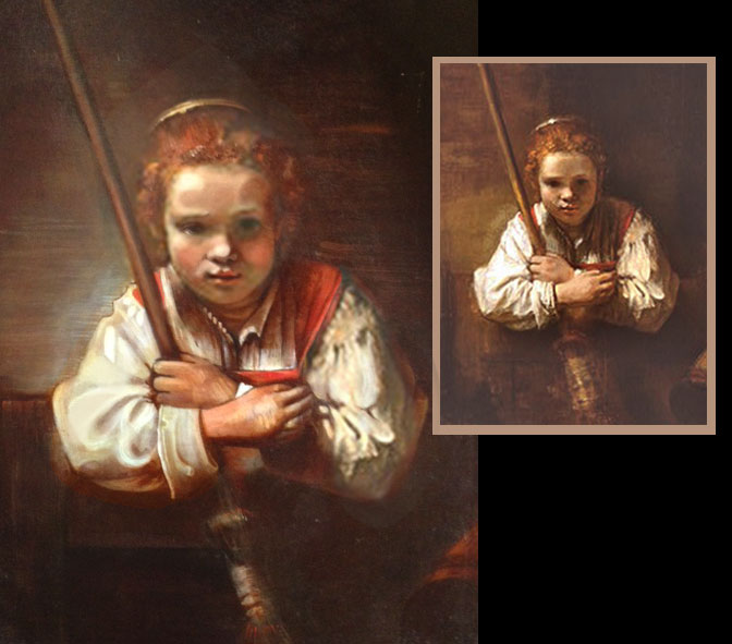 "Rembrandt's ""Girl with Broom."" My reproduction on left."