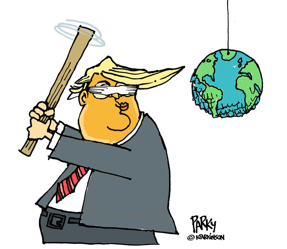 Left:  Trump cartoon. The world is his piñata