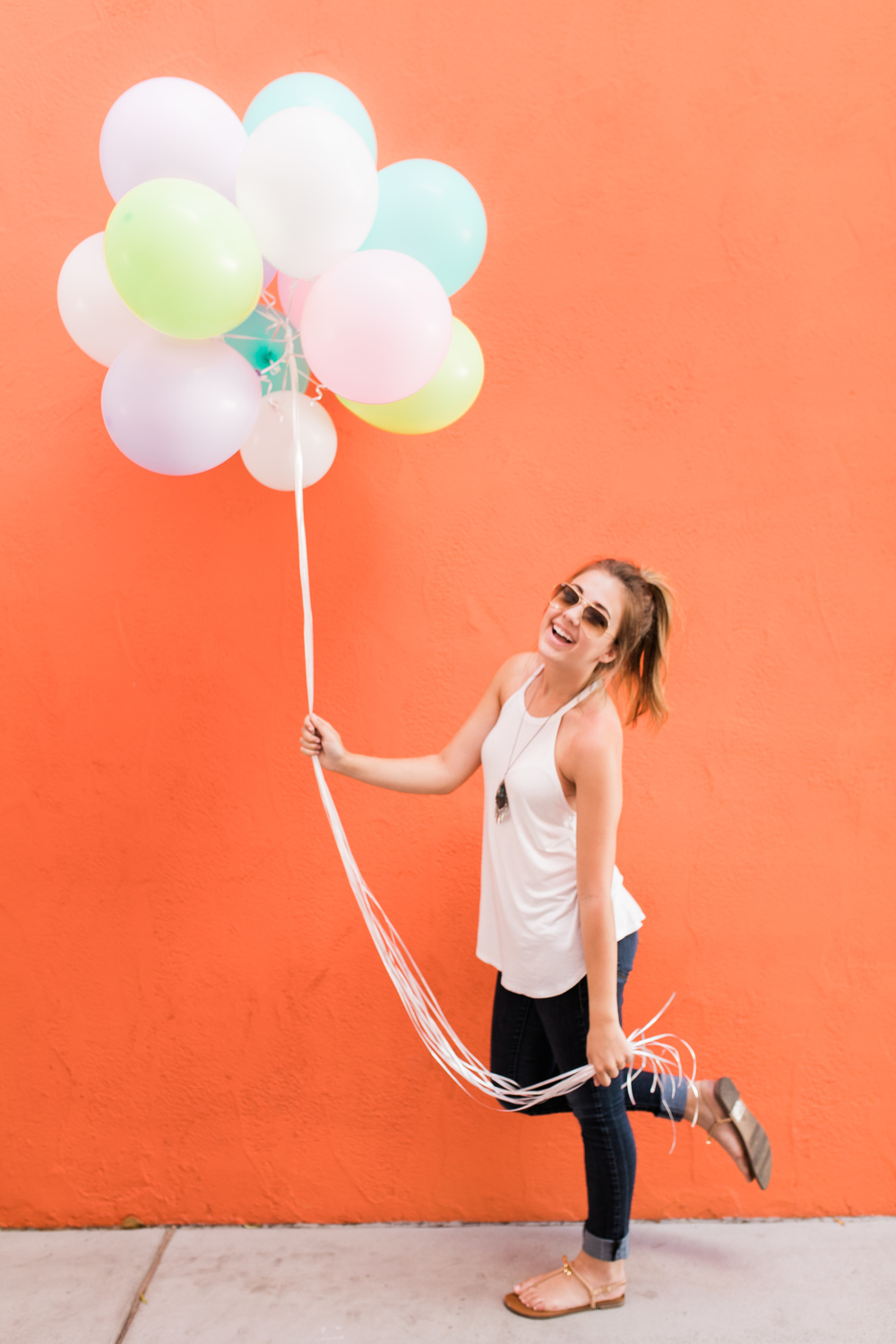 It's not very often that I get to step in front of a camera, but when I do... It's going to be in front of a bright orange wall with a bundle of pastel balloons! Who would-a thought this combo would work so well together?!