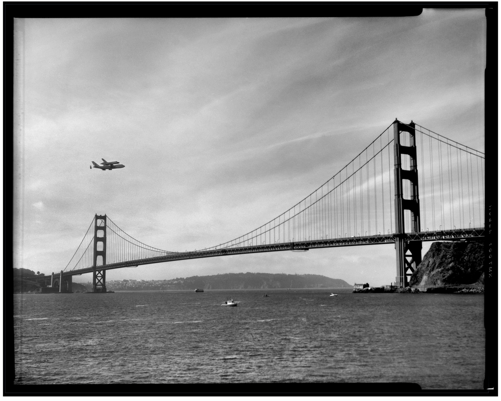 Space Shuttle Endeavour Over Golden Gate Bridge
