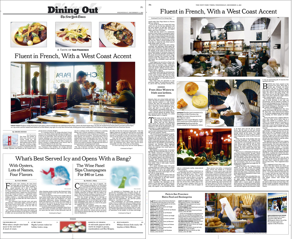 New York Times - Dining Out     -cover/jump page
