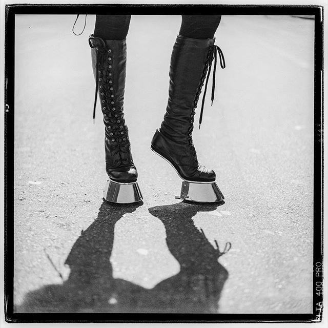 "LIFE SQUARED - ""Hooooofin' It"" © 2018 Peter DaSilva. #hoofs #boots #heelless #hoofinit #shodow #chromehoof #120 #ilford #delta400pro #bw #film #fullframe  #rolleiflex #35e3 #filmisnotdead #filmlover #6x6 #analog #nophotoshop #filmphotographer #pdsphoto #peterdasilva #analogueposse"