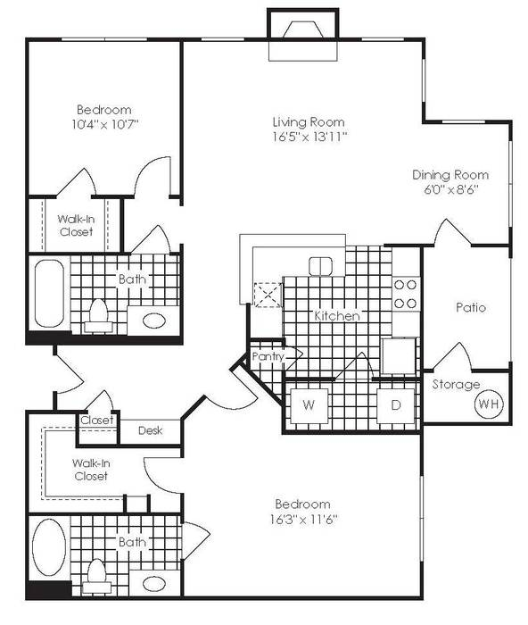 You can see the dining room - or office - marked in the floor plan of our apartment. It's certainly cozy, but we were able to organize it in a way provided everything I need!