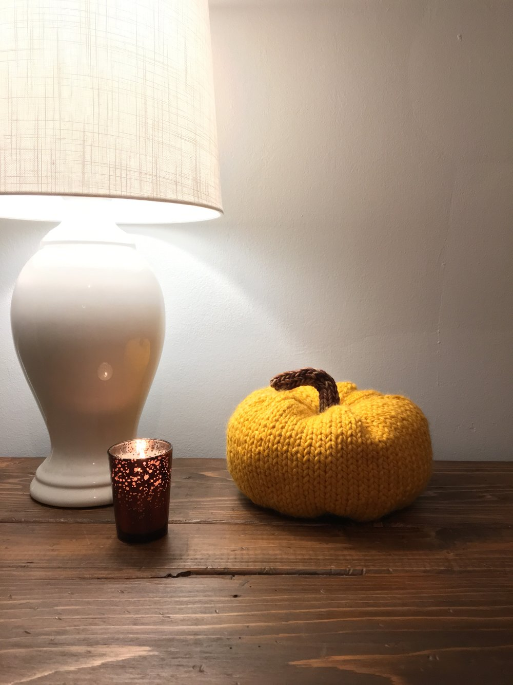 One aspect of home-ownership I'm really excited about is decorating for the seasons! I knitted this pumpkin over the weekend and love how it looks sitting in our entryway.