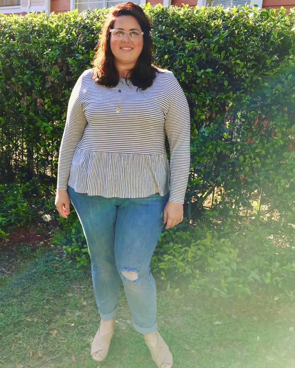 Outfit #1: comfy jeans, a peplum top and blush clogs for an easy Monday!