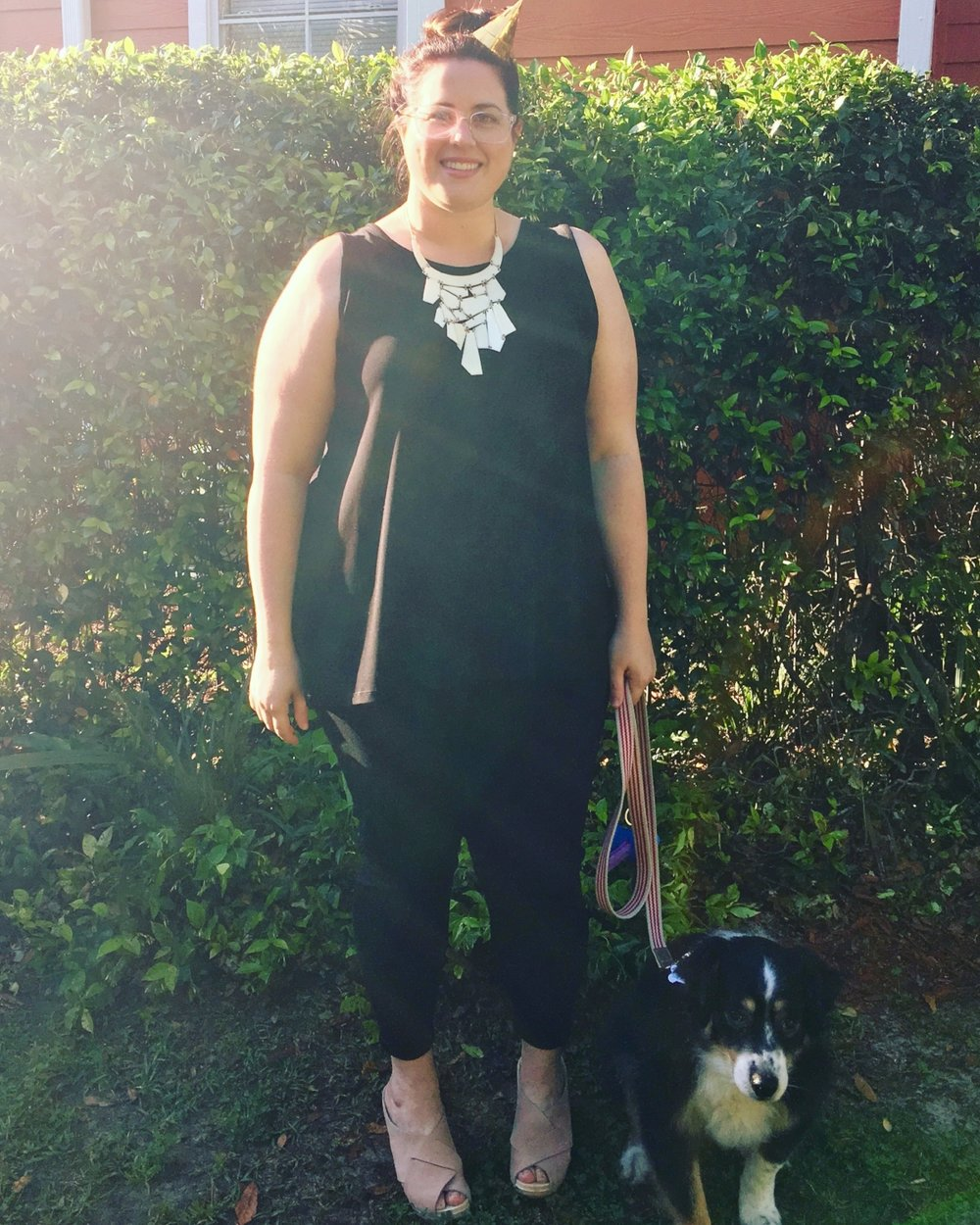 Outfit #2: Black jeans, a black tank top and blush clogs for a fun birthday look!