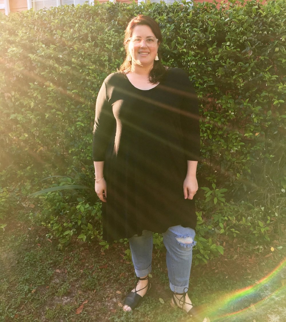 Outfit #3: Probably my most adventurous outfit during the challenge - a black dress over comfy jeans and black sandals.