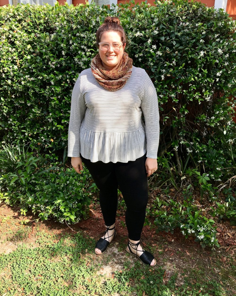 Outfit #7 - Black jeans, black sandals and a peplum top, all topped off with a scarf on the first day I was feeling better!