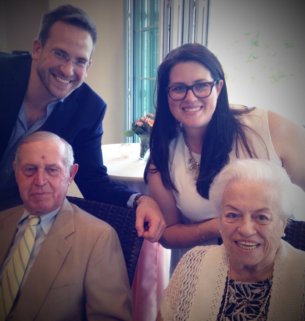 Kurt and I with my grandparents at our wedding shower, 2015.