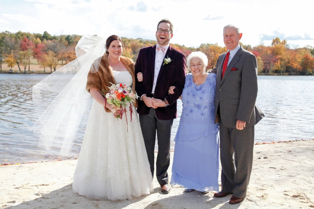 This is one of my very favorite photos from our wedding day - laughing by the lake with my grandparents.