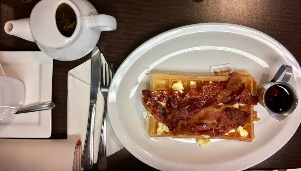 On Friday morning, Kurt and I grabbed one of the most delicious breakfasts of bacon, scrambled eggs and a Belgian waffle.