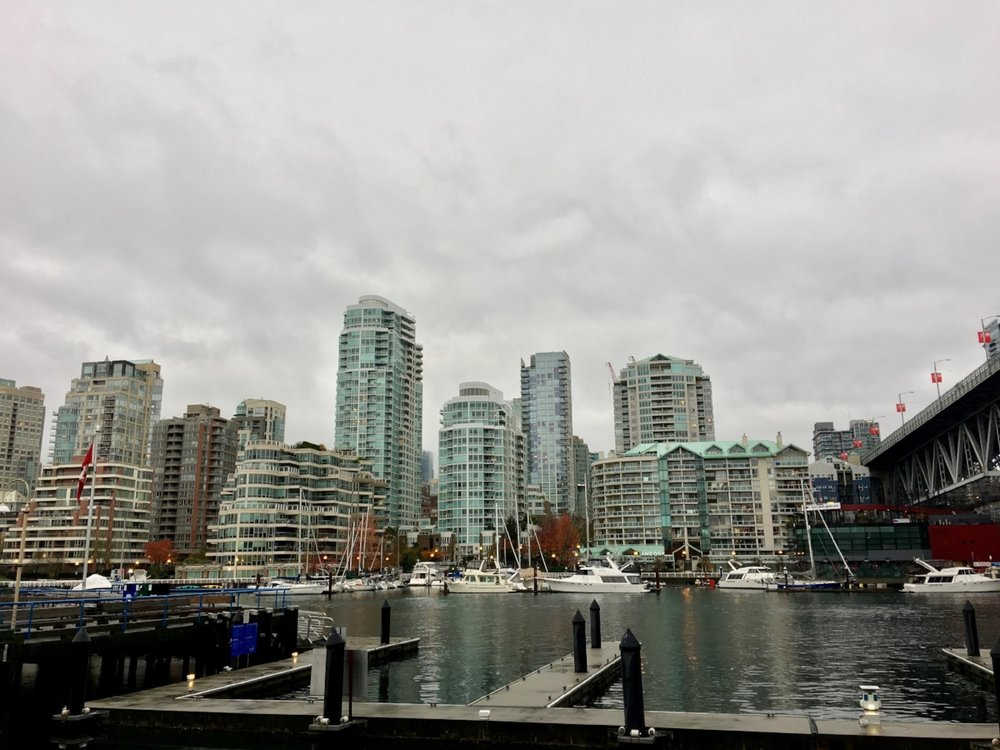 A view of the downtown skyline from Granville Island where the Public Market is located.