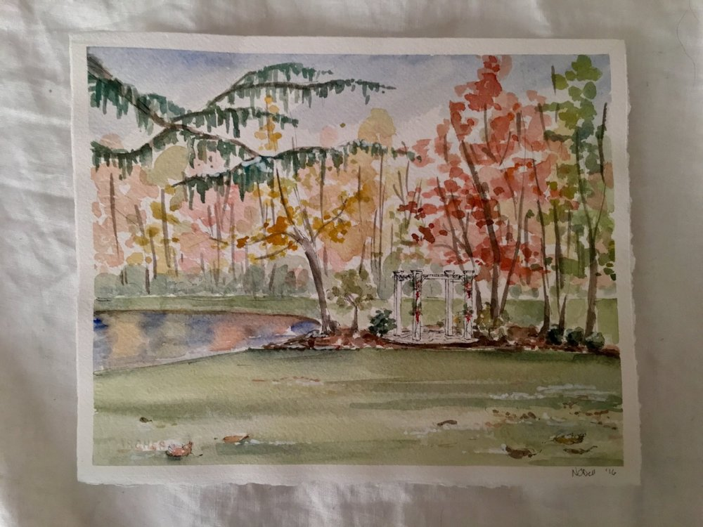This piece truly depicts the beauty of our wedding day. From the colors of the leaves and the little bit of snow on the ground to the reflections of the pond, I love the memories that come back when I look upon this piece.