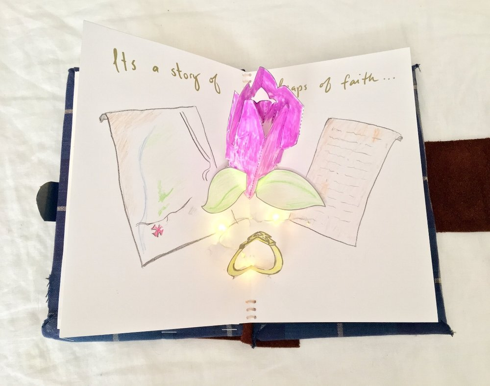 The day we got engaged, Kurt surprised me with a hand-drawn map and set of rhyming directions that led me to a secret garden at the Indianapolis Museum of Art. He was waiting there with roses and an engagement ring!