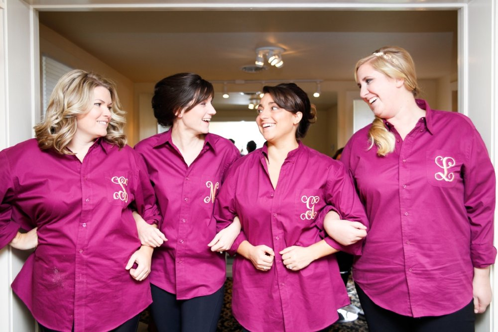 I wanted to give my bridesmaids a gift that had purpose on the wedding day. These monogrammed oxford shirts were comfortable and I know some have found ways to wear their shirts after the wedding!
