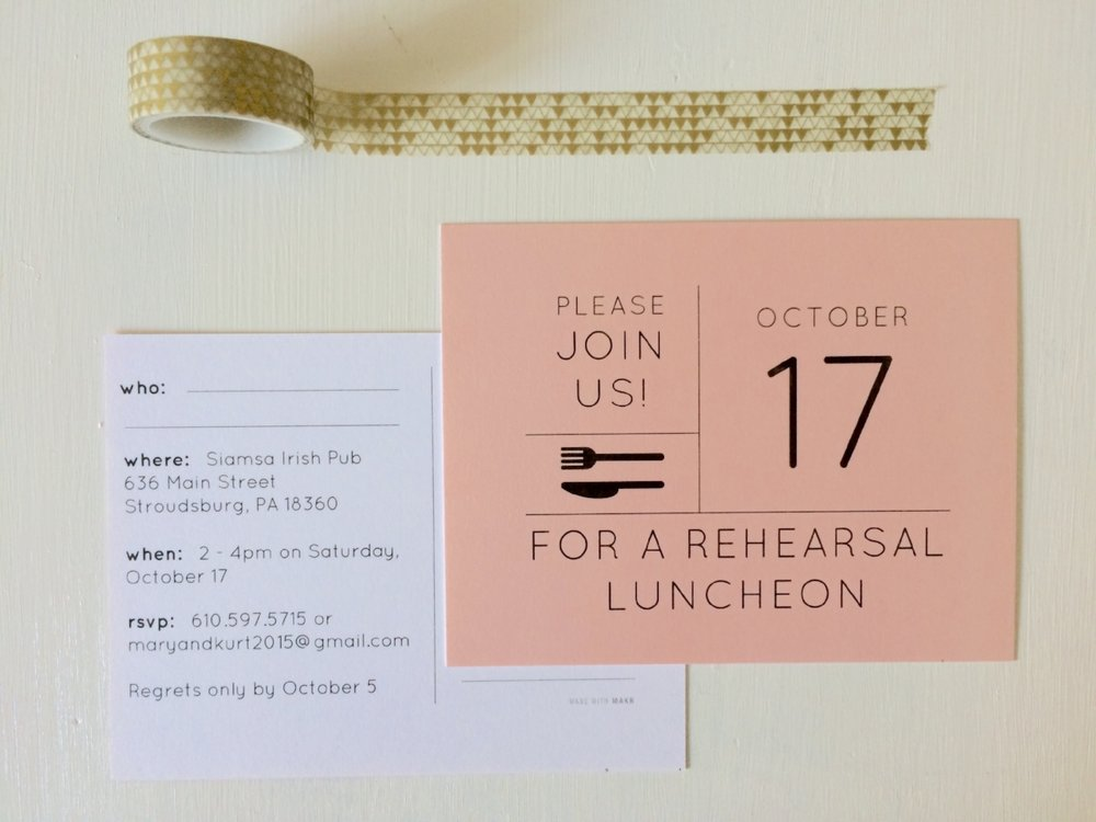 Our rehearsal luncheon invitations - a quick and easy postcard featuring the blush from our color palette!