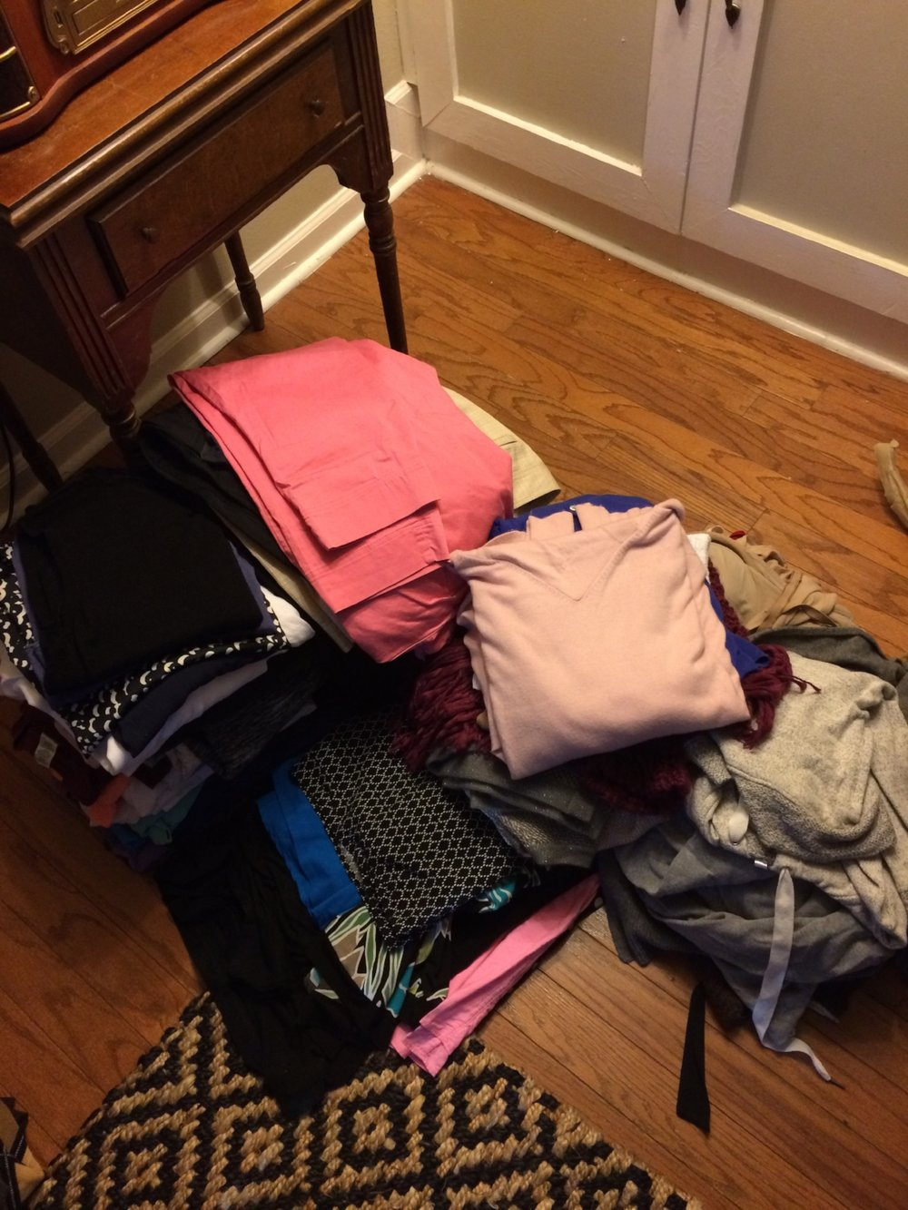 """My """"after"""" pile of clothes that didn't make the cut to stay in my closet. I wish I had a photo of the """"before""""!"""
