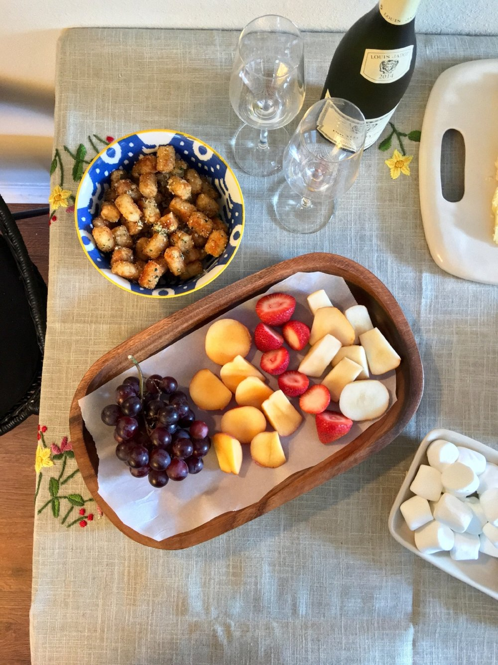 Yummy truffle tots and a big fruit platter. Kurt included sliced peaches, pears, strawberries and grapes.