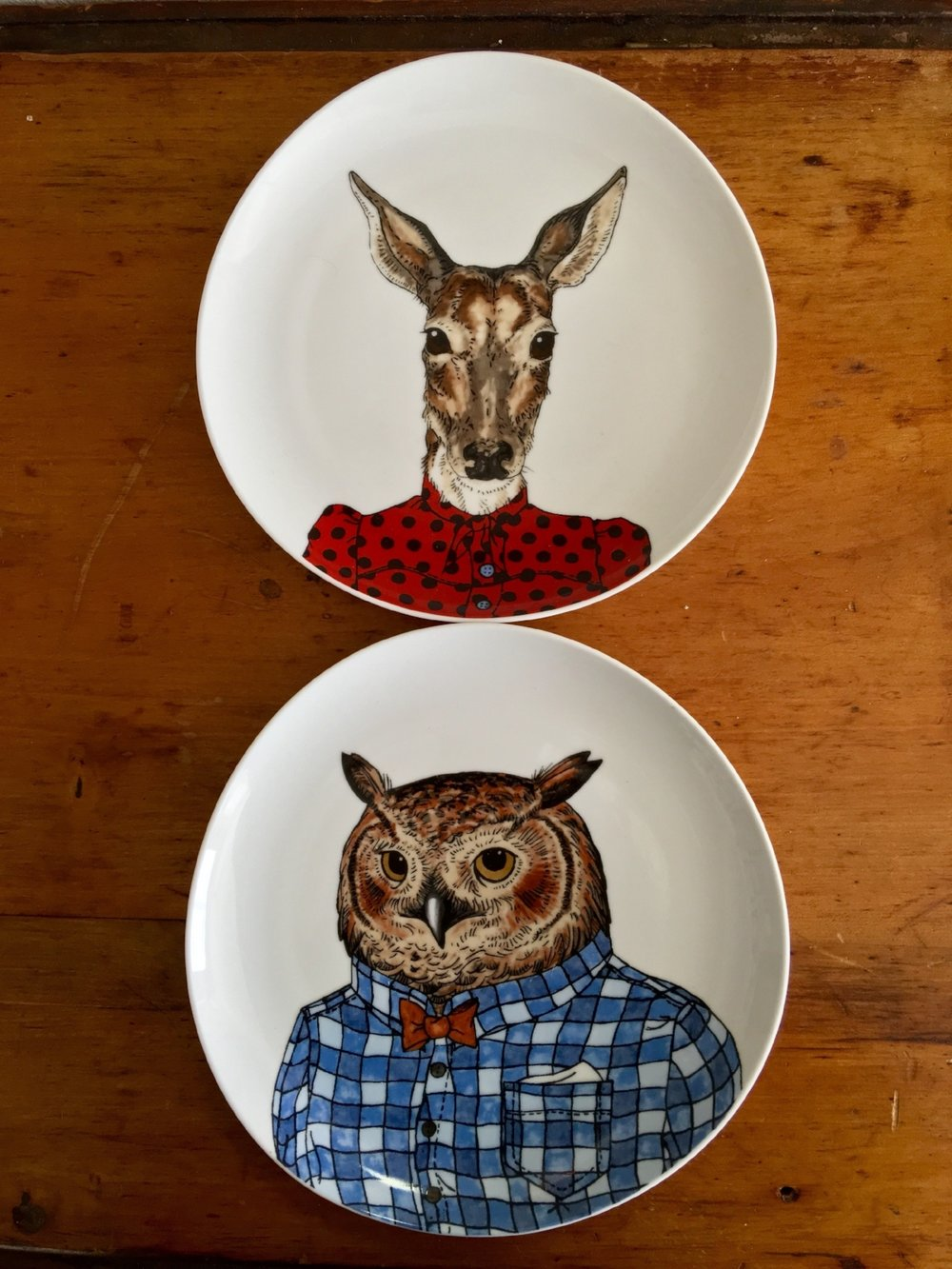 These animal plates are from West Elm. Kurt and I collected them not long after we moved to   Florida! The Owl and the Doe felt rather patriotic in their red and blue, making them easy choices for the meal!