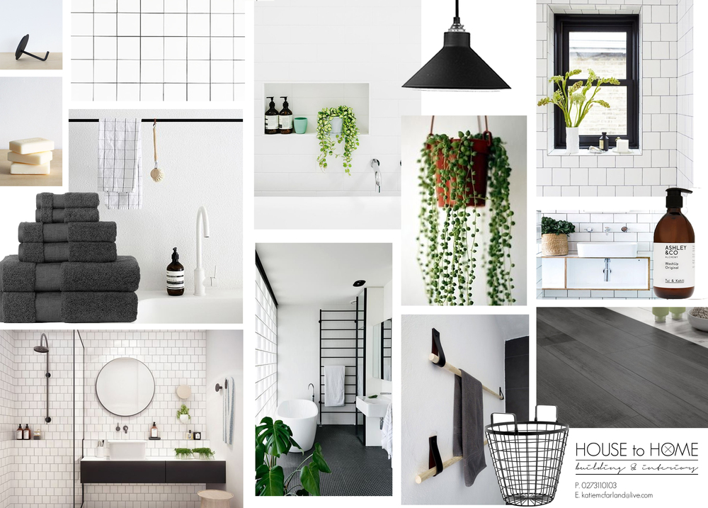 Mood board by whitewash | Imagery sources - Top left toilet roll holder + soap via Father Rabbit, Pendant light by Citta Design, Washup handsoap by Ashley and Co, all other images via Pinterest