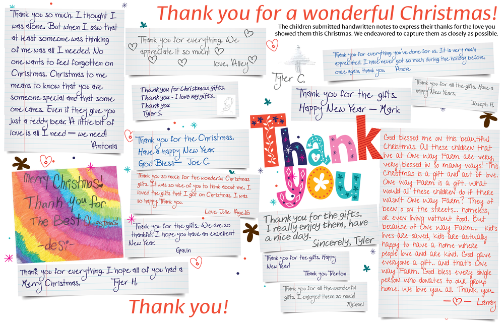 These are notes from the children for you! See them in our January/February Newsletter.