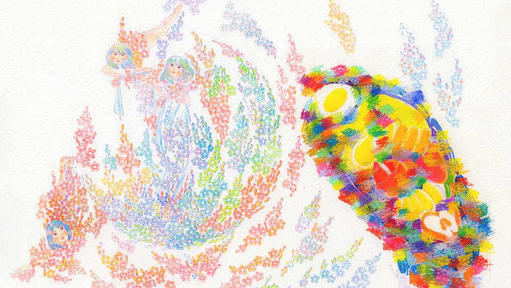 "THE PEACH DARGEN | 桃花源記 | 30""  × 20"", PASTEL, PENCIL, WATERCOLOR"