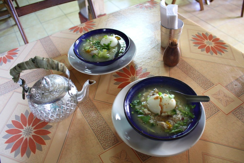 A nourishing welcome breakfast of Thai Rice Soup from We!