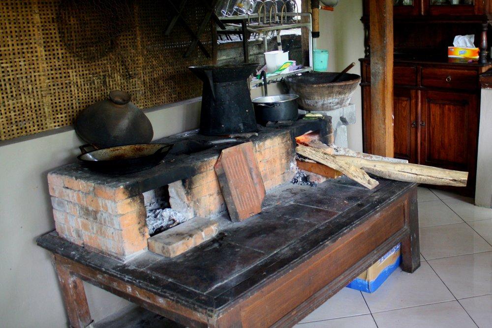 Wood burning stovetop.