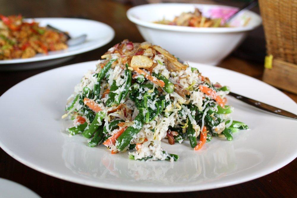 Fresh coconut salad.