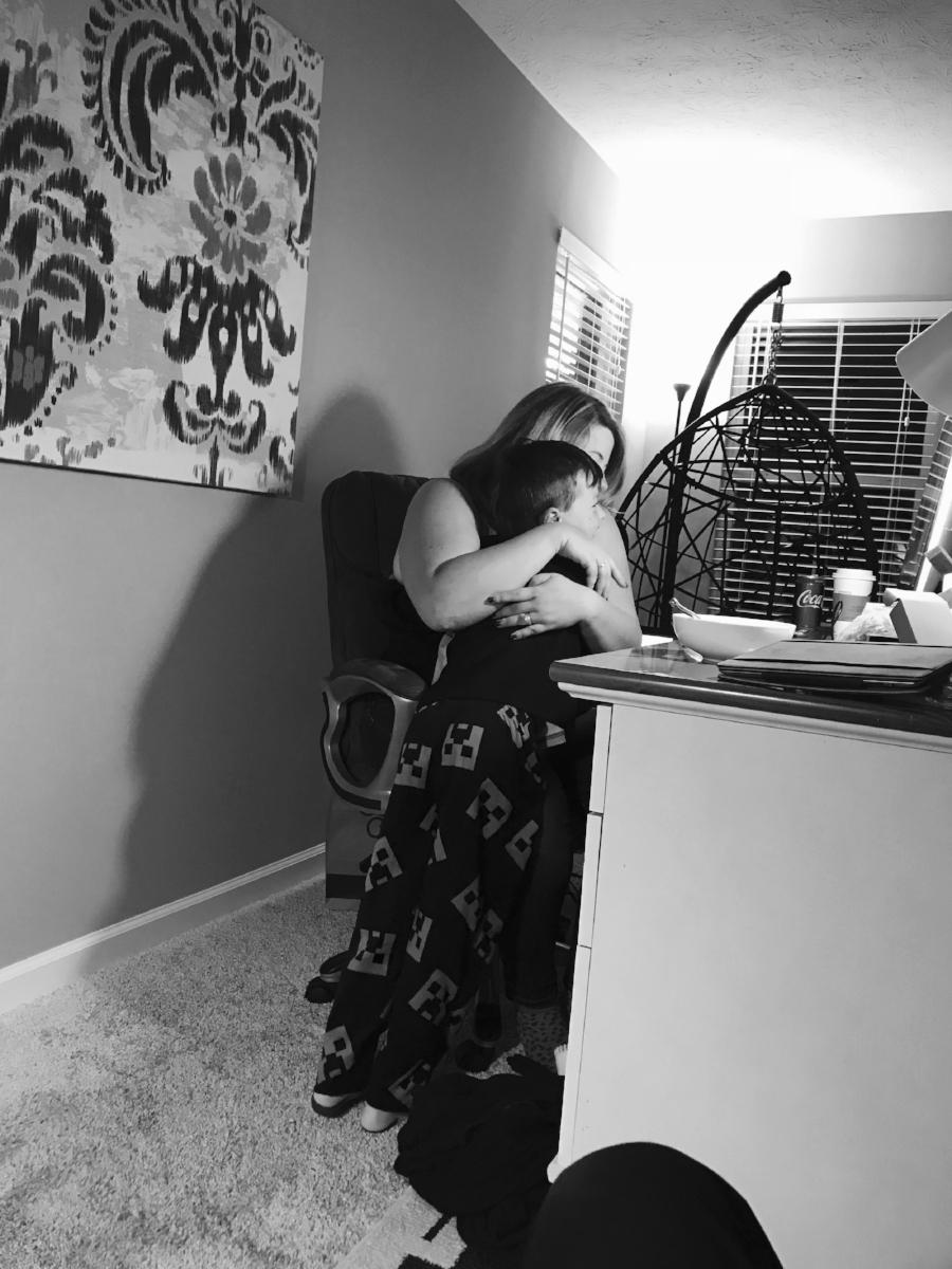 Cuddling during a long editing stretch