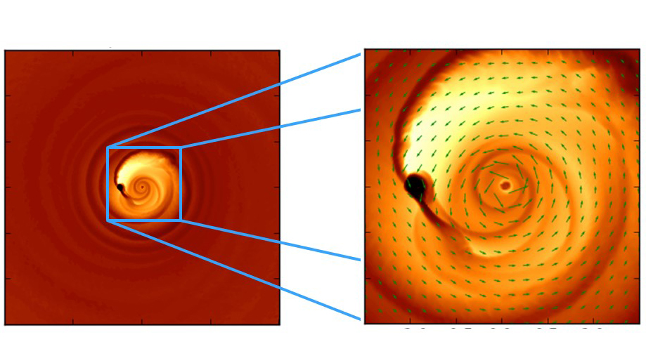 This simulation helps explain an odd light signal thought to be coming from a close-knit pair of merging black holes, PG 1302-102, located 3.5 billion light-years away. Image credit: Columbia University