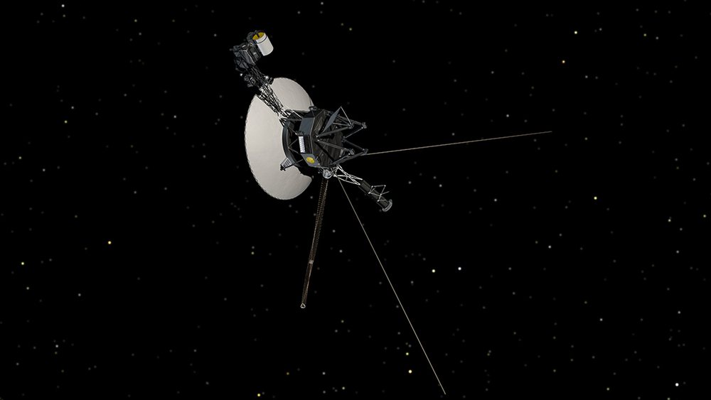 This artist's concept shows NASA's Voyager spacecraft against a backdrop of stars. - Image credit: NASA/JPL-Caltech