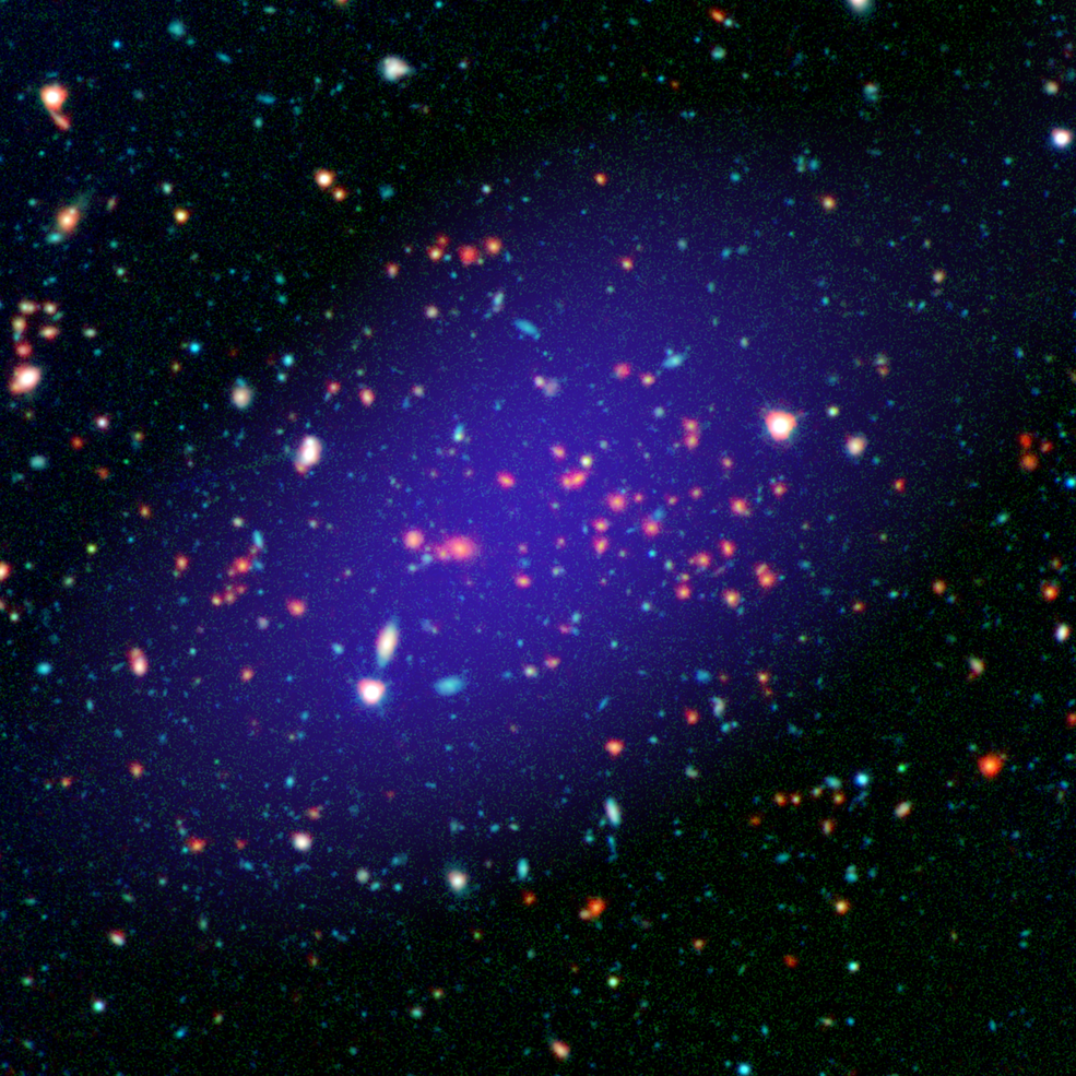 The galaxy cluster called MOO J1142+1527 can be seen here as it existed when light left it 8.5 billion years ago. The red galaxies at the center of the image make up the heart of the galaxy cluster. - Image credit: NASA/JPL-Calltech/Gemini/CARMA