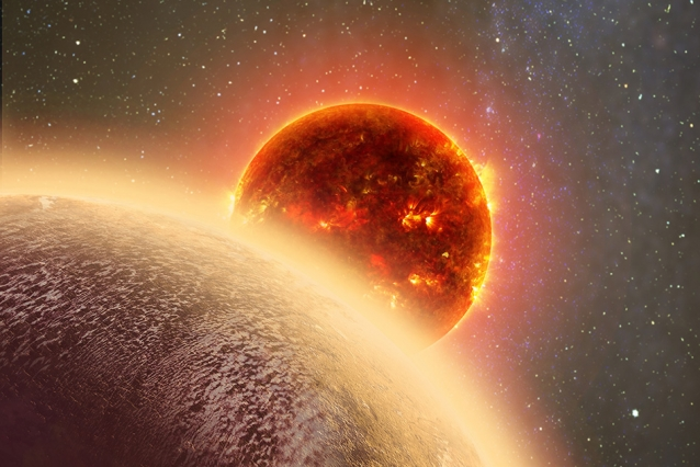 This artist's rendering of GJ 1132b, a rocky exoplanet very similar to Earth in size and mass, circles a red dwarf star. GJ 1132b is relatively cool (about 450 degrees F) and could potentially host an atmosphere. At a distance of only 39 light-years, it will be a prime target for additional study with Hubble and future observatories like the Giant Magellan Telescope - Image credit: Dana Berry
