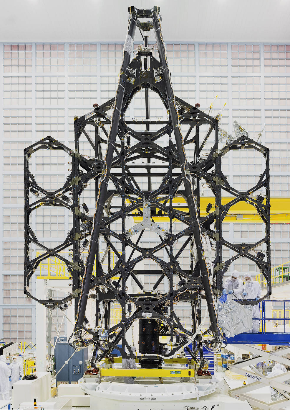 "Engineers successfully completed two deployments for the James Webb Space Telescope's ""wings"" or side portions of the backplane structure that fold up - Inage credits: NASA"