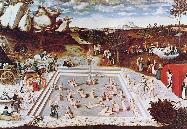 The   Fountain of Youth  , 1546 painting by   Lucas Cranach the Elder   - Image Credit: Wikimedia commons