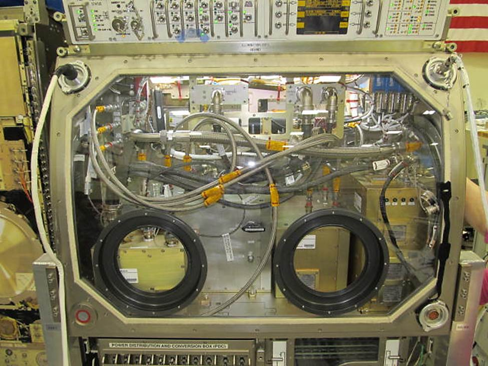 The PBRE is seen integrated into the Microgravity Science Glovebox. Image Credit: NASA
