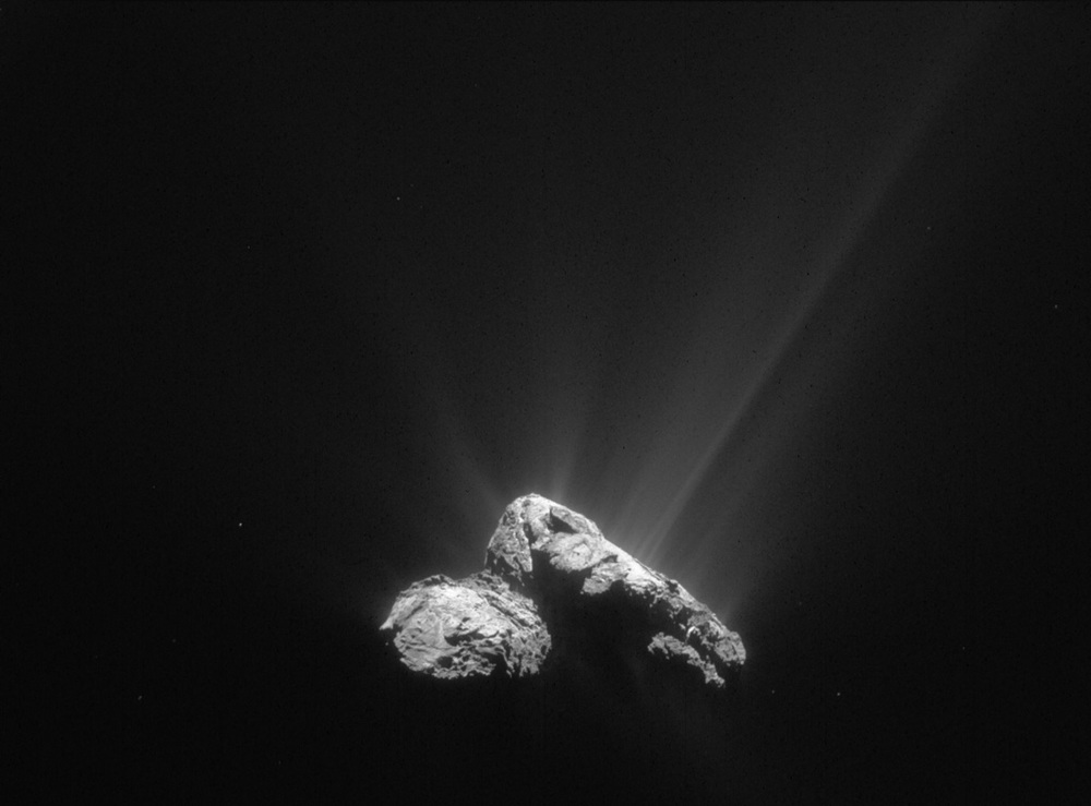 That's mostly water jetting off the nucleus of comet 67P/Churyumov-Gerasimenko on 30 July 2015 as the comet drew closer to the Sun. – Image Credit: ESA/Rosetta/NAVCAM