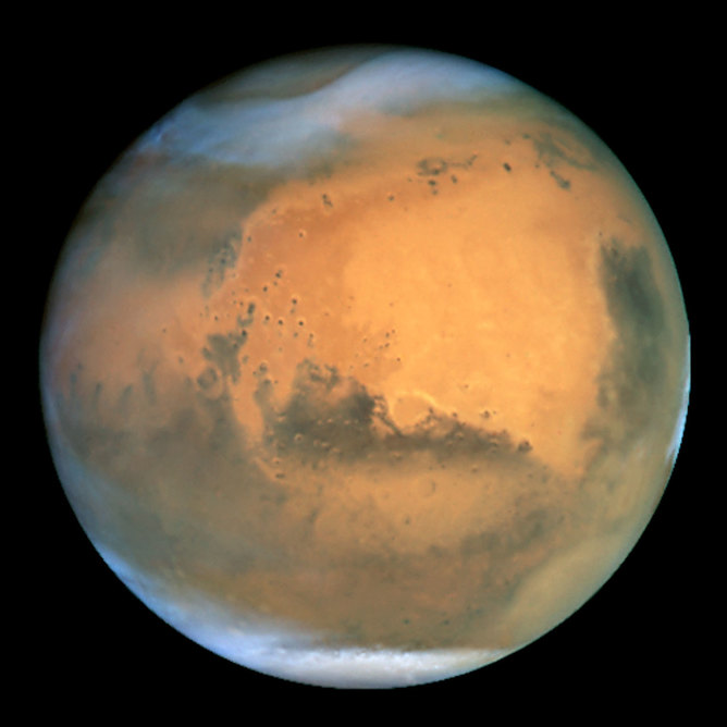 Mars seen by Hubble.   - Image Credits:    NASA and The Hubble Heritage Team/wikimedia